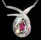 ANTONIO PINEDA Pearl, Alexandrite & Silver Necklace
