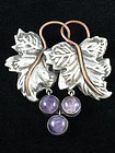 FRED DAVIS PIN SILVER AMETHYST COPPER 1930's