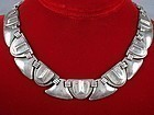 FRED DAVIS SILVER MASK & SHIELD NECKLACE DECO 1930'S