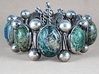 HECTOR AGUILAR SILVER & CHRYSOCOLLA STONE BRACELET