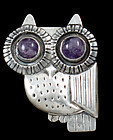 WILLIAM SPRATLING VINTAGE 1940'S AMETHYST & SILVER OWL PIN