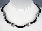 ANTONIO PINEDA SILVER & BLACK OBSIDIAN NECKLACE