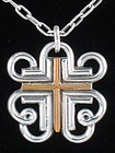 WILLIAM SPRATLING JASPER & SILVER CROSS NECKLACE