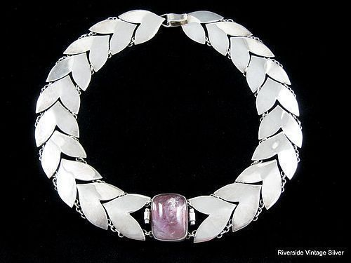 FRED DAVIS AMETHYST & SILVER ART DECO CHEVRON NECKLACE
