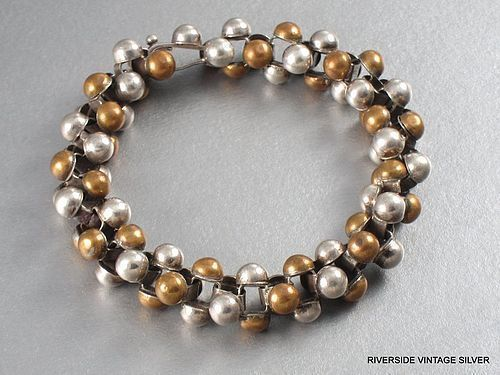 WILLIAM SPRATLING COPPER & SILVER CAVIAR BRACELET