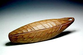 A Bamboo Tea Scoop In Shape of a Leaf