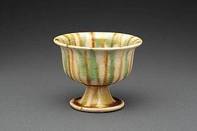 A Beautiful Tang Sancai Stem Cup