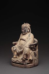 A Wooden Sitting Figure of Ming Dynasty