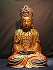 A Lacquered Hard Wood Sculpture of Buddha