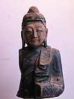 A 19C Burmese Lacquered Wood Buddha Statue