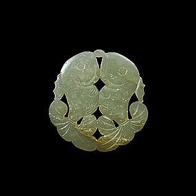 A  White Jade Twin-Fish Shaped Pendant of  Qing Dynasty