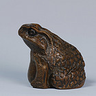 A Bamboo Carving of A Toad of 19th Century
