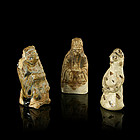 A Triad of Brown Glazed Figurines of Song Dynasty
