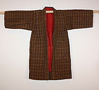 Edo  tsumugi silk Cotton of check Child kimono