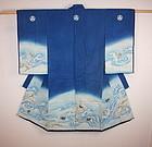Edo thick  Indigo dye cotton yuzen dye Child kimono