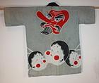 Japanese tengu and okame cotton hanten textile