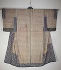 Edo katazome silk donuki jyuban kimono textile
