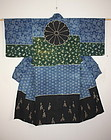 Edo dangawari katazome & tsutsugaki cotton katsugi