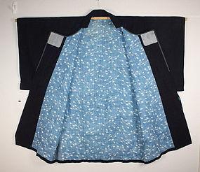 Edo Indigo dye cotton dotyugi coat of hand-spun