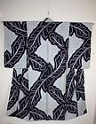 Japanese taisyo chirimen silk Indigo dye shibori kimono