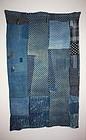 Indigo dye shibori & katazome boro futon cover textile