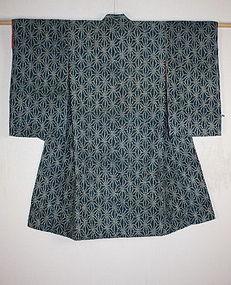Meiji era Child Indigo tsumugi asanoha katazome kimono