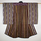 Meiji silk Stripe and katazome and kasuri Child kimono