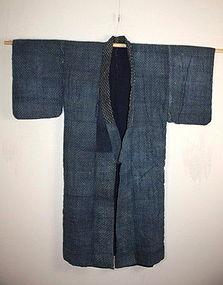 Edo Indigo dye thick cotton katazome kimono hand-spun