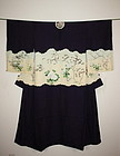 Japanese silk meiji katsugi-Kimono with the family coat