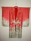 Meiji rinzu benibana-dye silk furisode  Child kimono