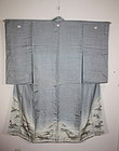 Meiji rinzu-silk  Elegant susogara furisode kimono