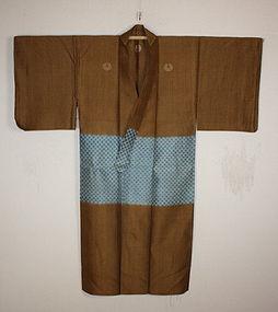 Edo Noshime hira-ori silk-kasuri samurai kimono textile