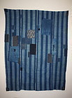Meiji Indigo dye Stripes cotton Patchwork boro textile
