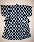 Taisho era Indigo dye cotton ichimatsu-kasuri kimono