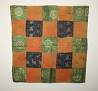 Edo donsu benibana-dye silk Patchwork uchishiki textile
