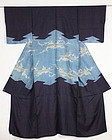 Edo silk Katsugi Indigo Dyed Yuzen picture