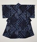 Edo Indig Asamai-Shibori Cotton Thick Hand-spun Kimono