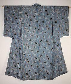 Edo Indigo Katazome Rinzu-Silk Kimono