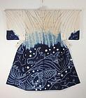 Edo Akita Asamai-shibori Hand-spun cotton Kimono rare