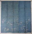 Edo Kanazawa Jyofu-hemp Noren Indigo Tsutsugaki horses