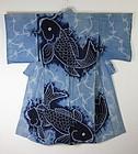 Edo Akita Asamai-shibori Hand-spun Indigo cotton Kimono