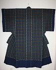antique Indigo dye cotton cross stripes kimono yogi