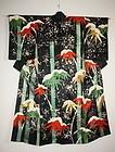Beautiful silk rinzu gorgeous kabuki kimono yuzen-dye embroidery