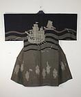 Taisho Silk Katazome Kimono Nanbansen-ship Nanbanjin-people.