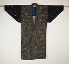 Katazome & benibana-dye & shibori cotton Patched noragi edo