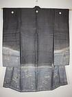 Edo yuzen-dye rinzu silk furisode kimono Ise-ebi (lobster) & noshi