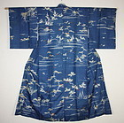 Japanese  antique Beautiful  silk yuzen dye  kimono (1800-1867)