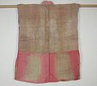 Japanese  antique Beautiful  benibana-dye hemp boro jyuban meiji era