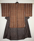 Japanese  antique silk yosegire katazome & Stripe Patched  kimono