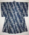 Japanese  antique Indigo dye  kasuri silk hitoe kimono Taisho period